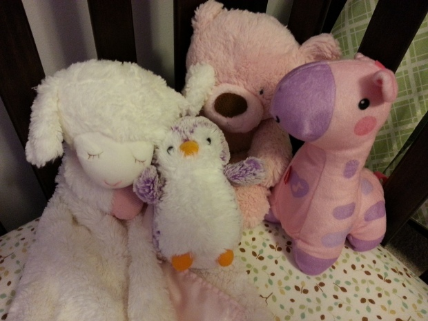 The Sleep Entourage: Lambie, Purple Pingu, Bear, and Giraffe