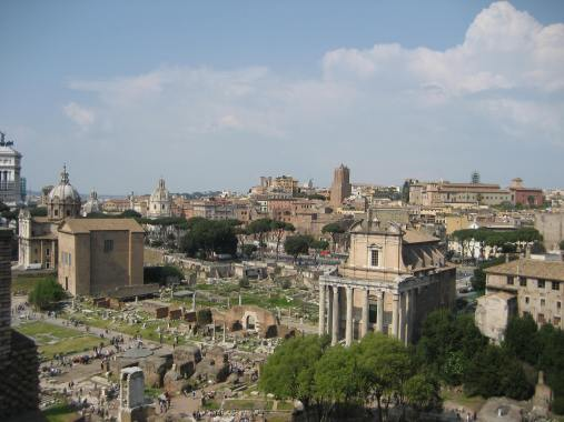 The view from Palatine Hill encompasses the Roman Forum and Coliseum.
