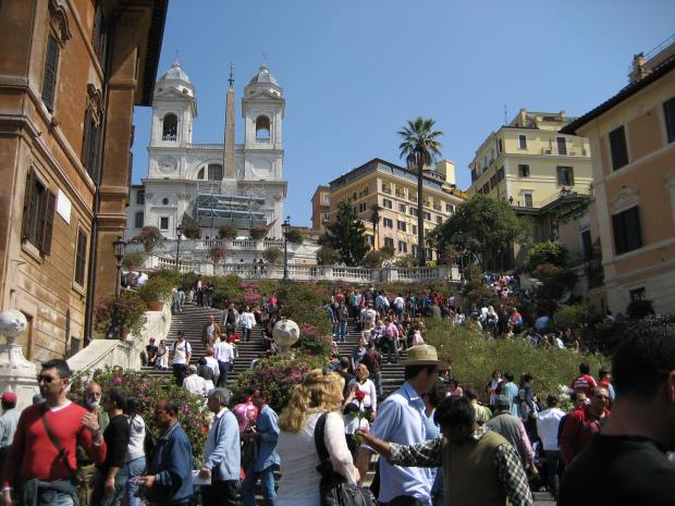 The Spanish Steps, as seen from Piazza di Spagna. Okay, so this landmark dates from the early 18th century, not the Renaissance. But much of the surrounding structures are older. 135 steps. We walked them. Both ways.