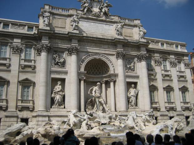 Trevi Fountain. We had a terribly hard time finding this beloved landmark. We were, in fact, trying to find the Column of Marcus Aurelius, got lost in some twisty Roman side streets, and found Trevi Fountain by chance.